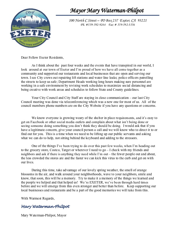 Mayor Letter to Community